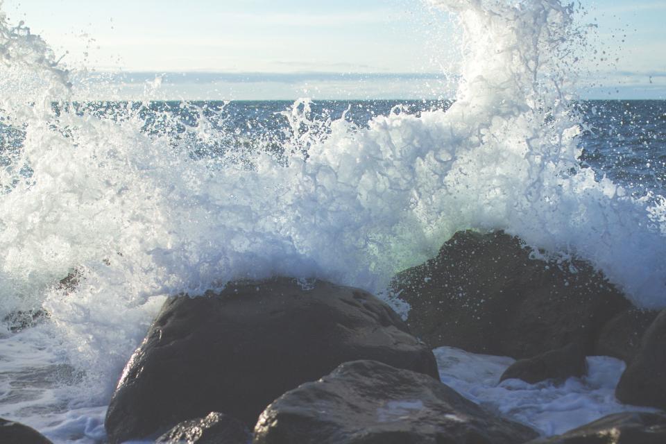 rocks, builders, waves, splash, water, ocean, sea