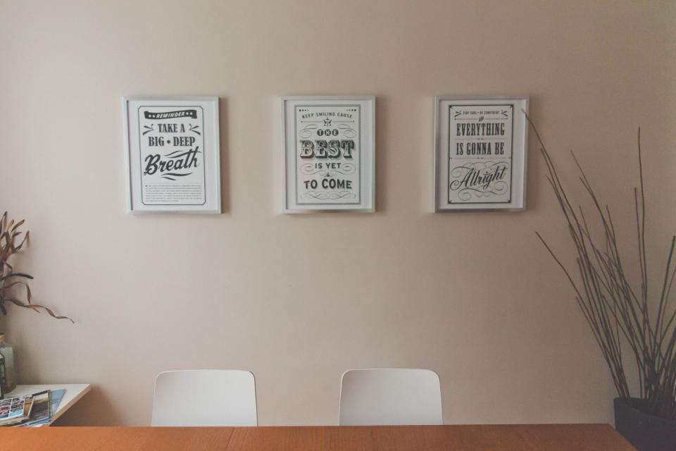 office, desk, table, quotes, prints, picture frames, wall, decor, room