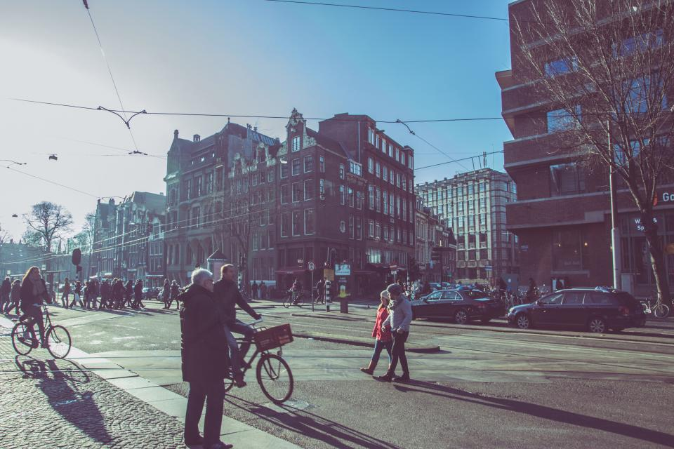 Amsterdam, streets, roads, people, pedestrians, bikes, bicycles, city, buildings, architecture