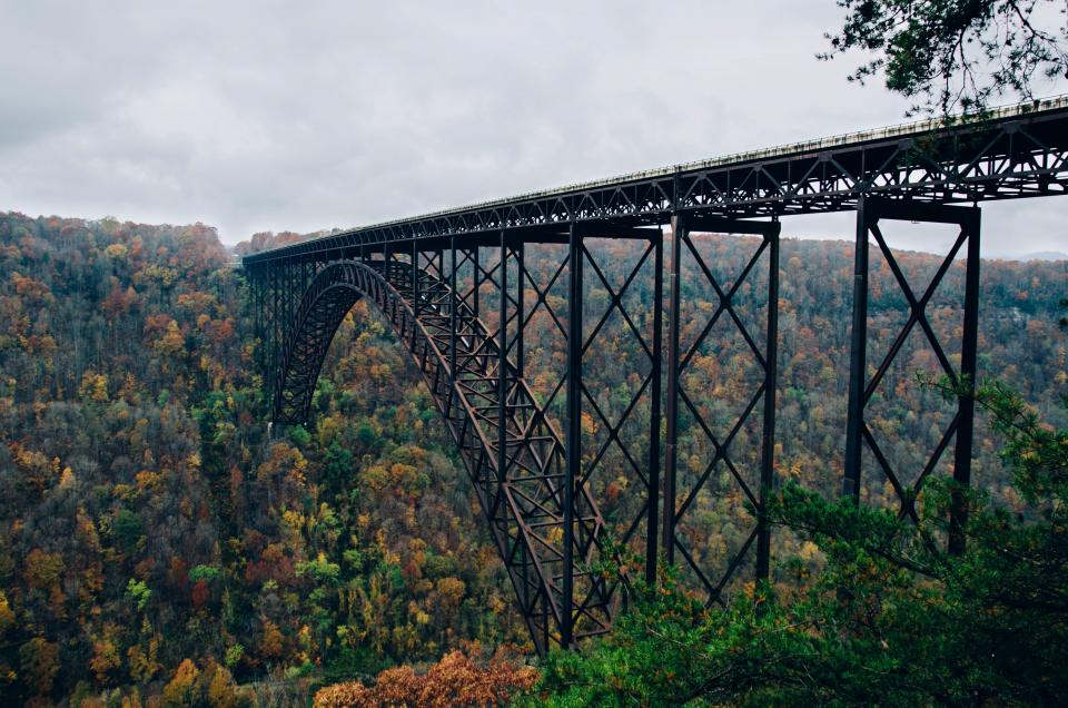 bridge, architecture, train tracks, railroad, railway, trees, fall, autumn, landscape, nature, mountains, hills, forest, clouds, cloudy, outdoors