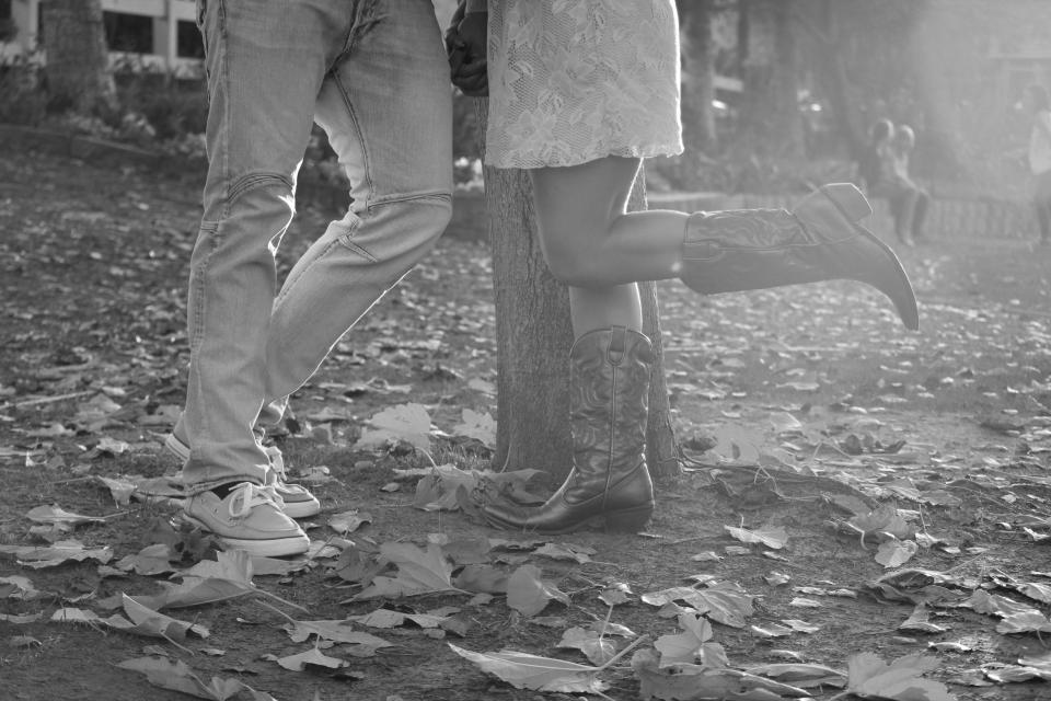 couple, love, romance, romantic, autumn, cowboy boots, leaves, black and white