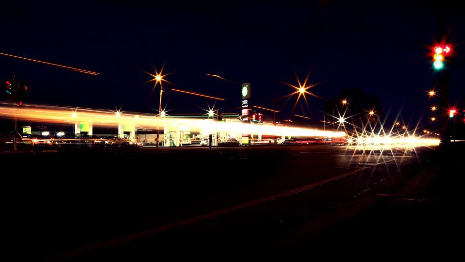 gas station, service station, pumps, dark, night, lights, cars, city, urban