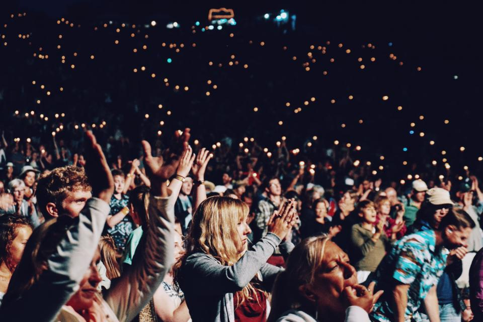 people, crowd, hands, clapping, party, concert, celebration, lights, happy, fun, stadium