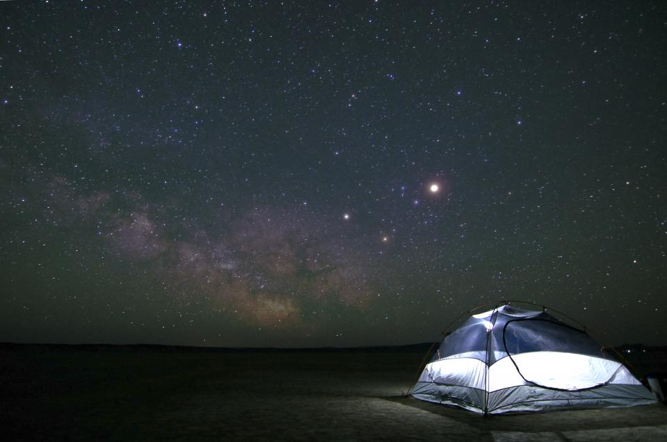 nature, sky, clouds, night, constellations, stars, universe, galaxy, space, gradient, blue, purple, black, camping, tent, travel