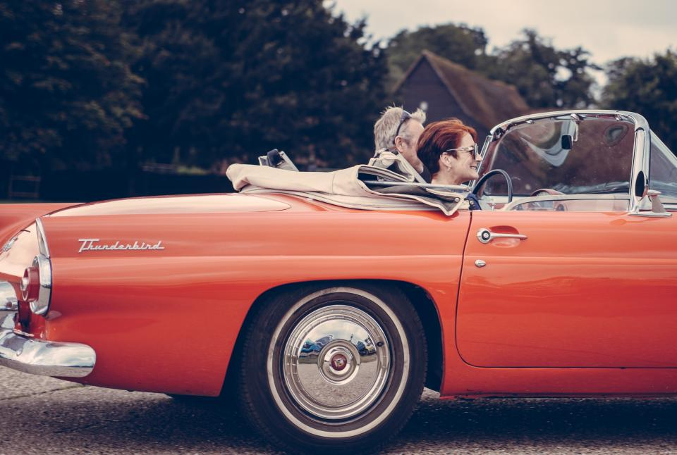 people, couple, love, old, man, woman, car, vintage, travel, trip, vacation, happy, smile