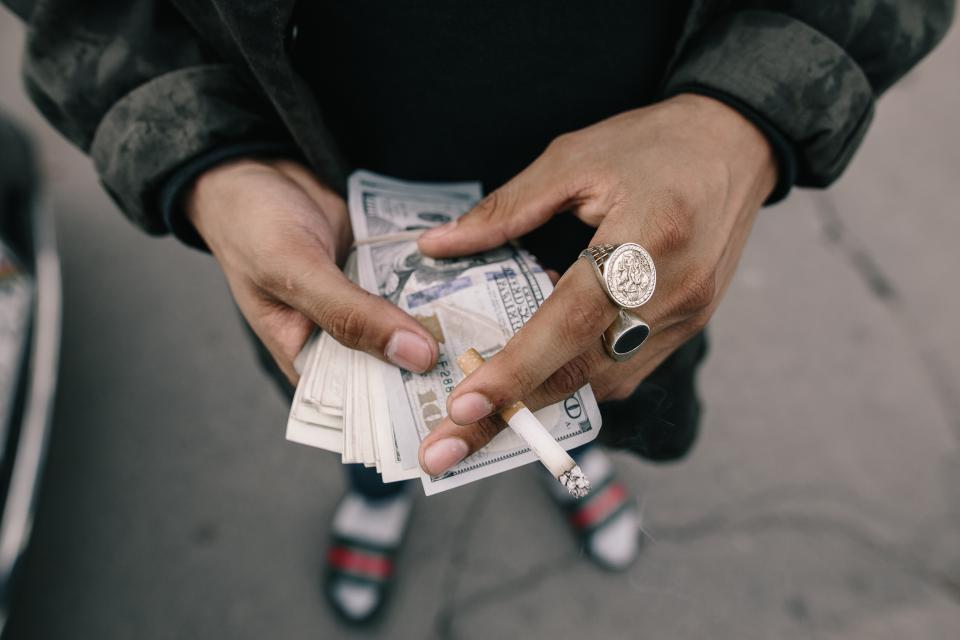 people, man, hands, money, bill, cigarette, smoking, ring, rich
