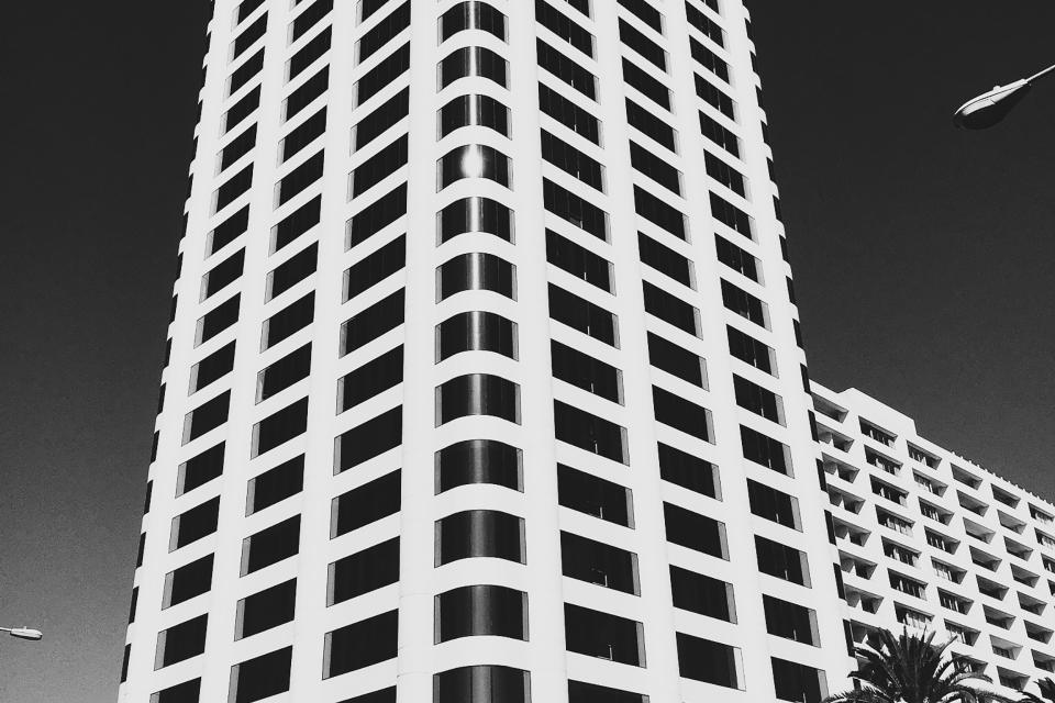 building, windows, architecture, city, urban, sky, black and white, tower, high rise