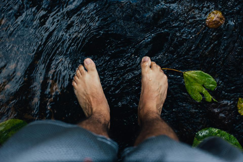 feet, water, river, stream, nature, outdoors