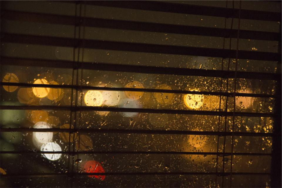 window, blinds, raining, lights, blurry, night, dark