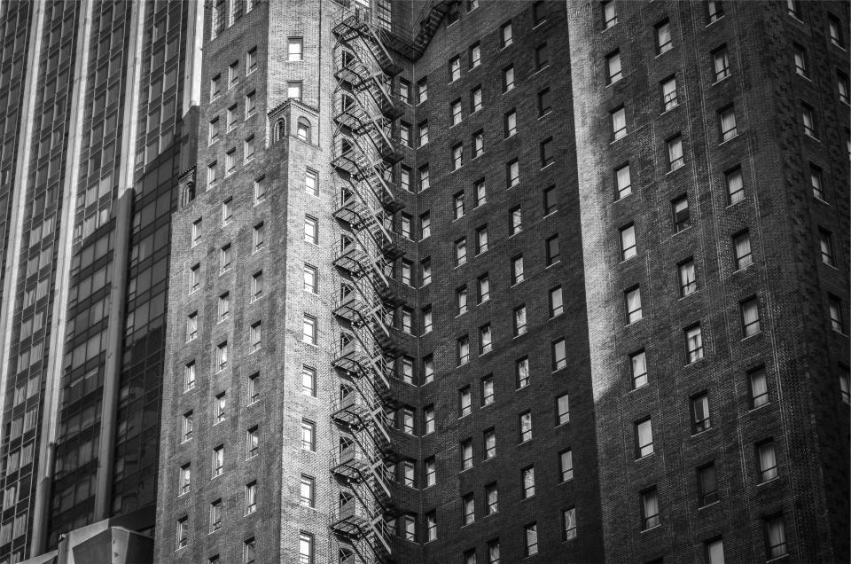 building, apartment, city, urban, architecture, windows, fire escape, windows, black and white