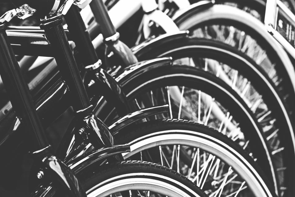 bikes, bicycles, wheels, tires, black and white