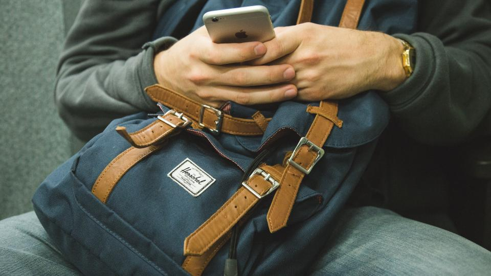iphone, texting, mobile, smartphone, cell phone, technology, hands, backpack, knapsack, people