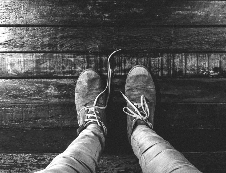 shoes, laces, pants, fashion, hardwood, floor, lifestyle, black and white
