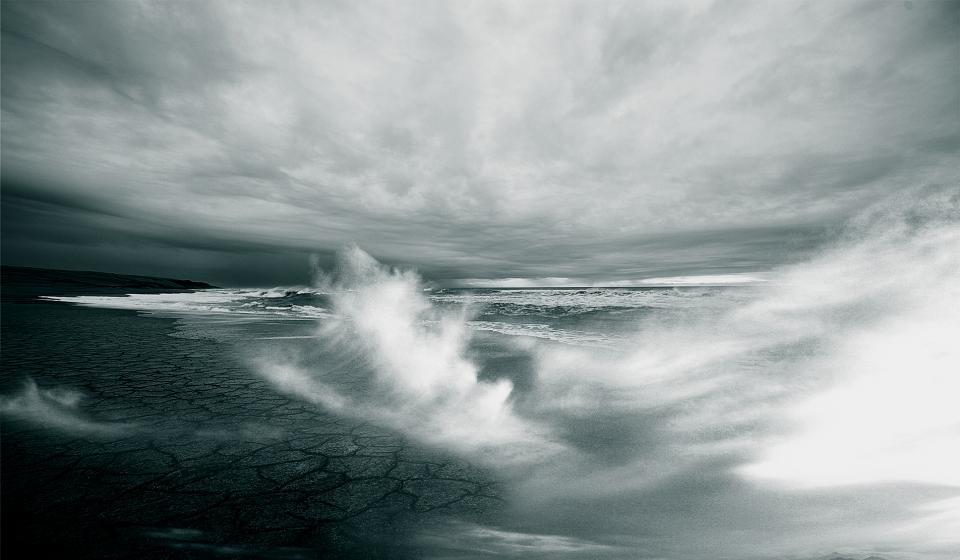 waves, shore, ocean, sea, water, sky, clouds, black and white