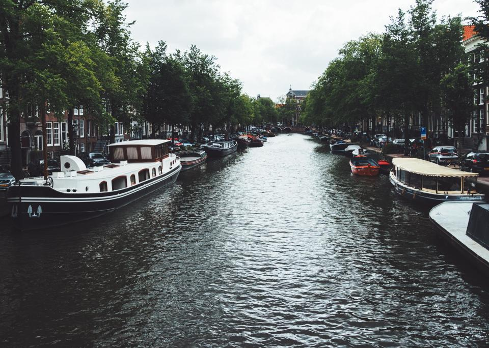 canal, water, boats, trees, city, town
