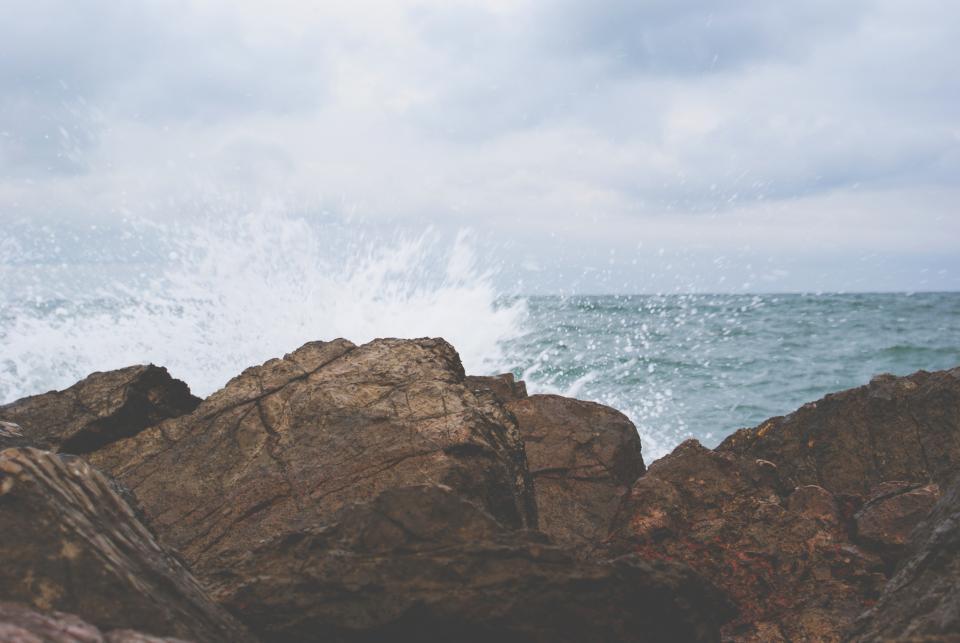 rocks, boulders, waves, ocean, sea, water, splash