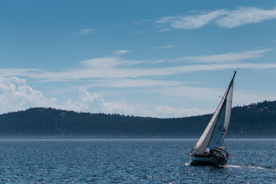sailboat, lake, water, trees, blue, sky, sunshine, sunny, landscape, nature, outdoors