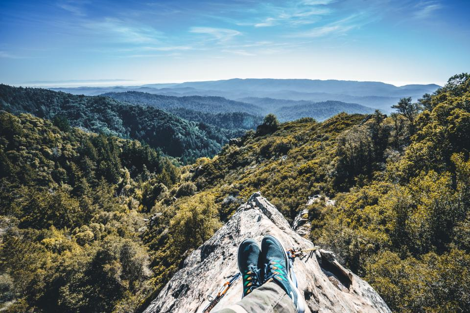 guy, man, male, people, feet, legs, shoes, sneakers, pants, nature, landscape, mountains, rocks, trees, sky, clouds, trek, hike, climb