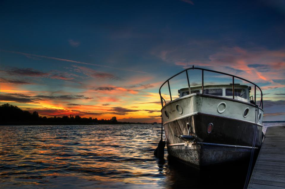 boat, ship, sunset, dusk, sky, clouds, water, lake, dock, hdr, outdoors