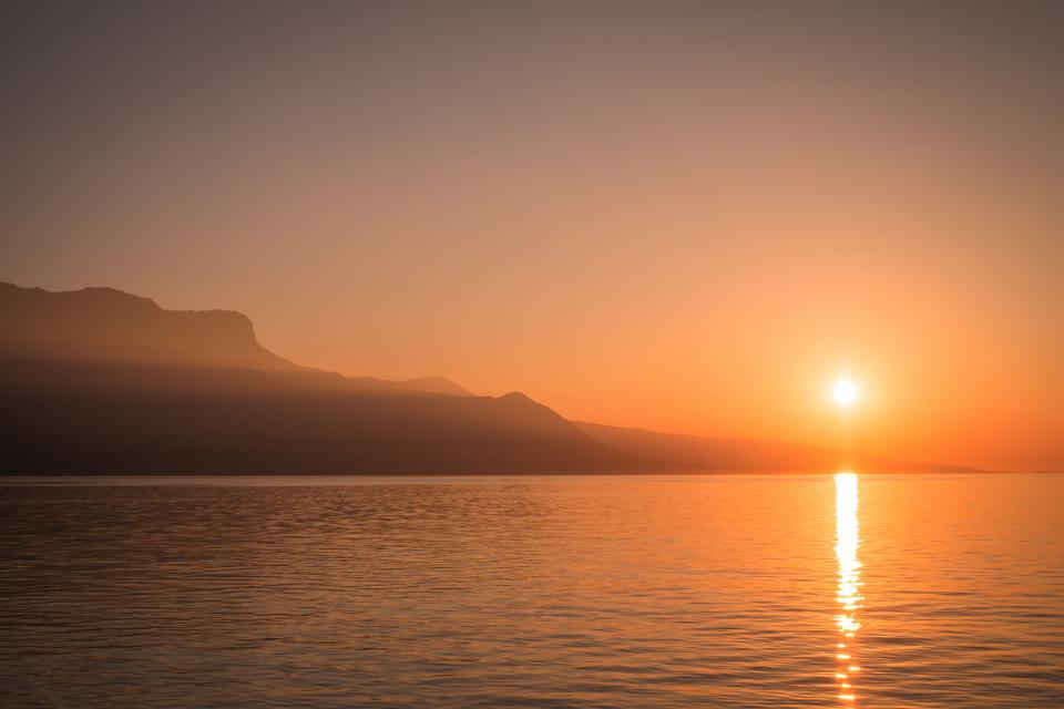 sunset, dusk, horizon, lake, water, nature, landscape, sky