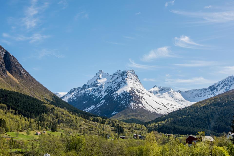 mountains, peaks, landscape, nature, outdoors, green, grass, fields, valleys, blue, sky, sunshine, sunny