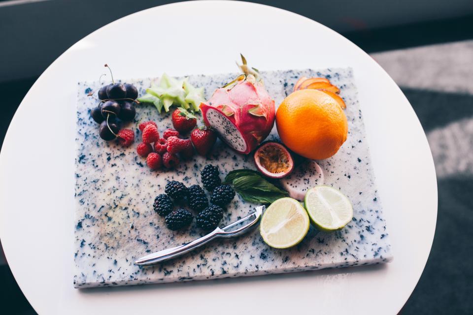 fruits, blackberries, raspberries, dragonfruit, lime, cherries, food, tray