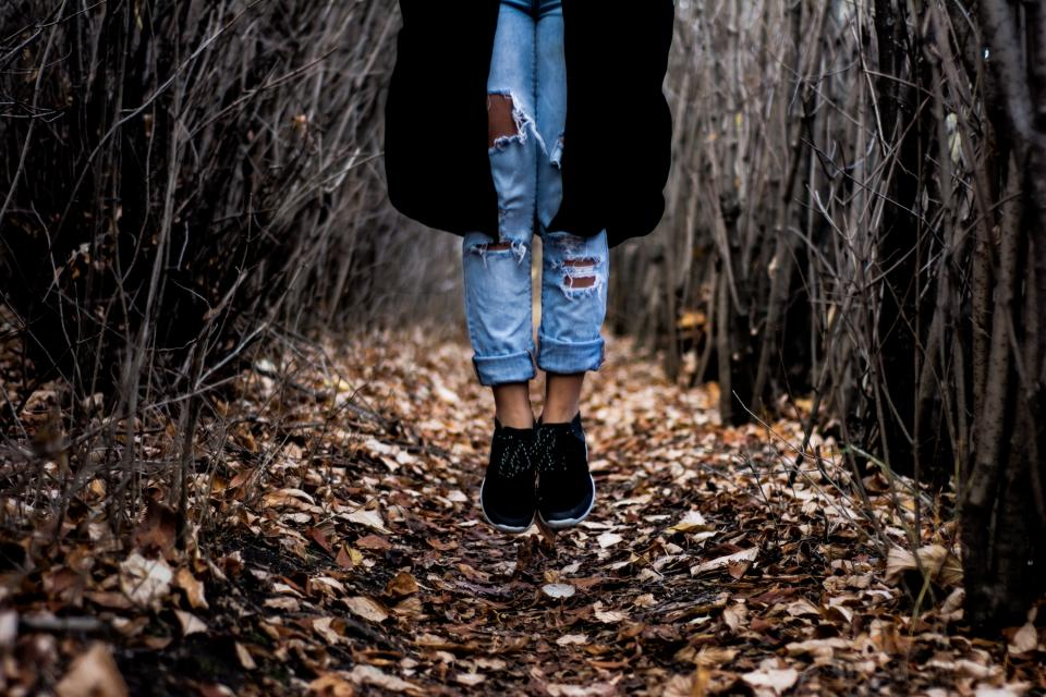 trees, branches, leaves, fall, autumn, nature, girl, woman, people, jeans, denim, shoes, fashion, lifestyle