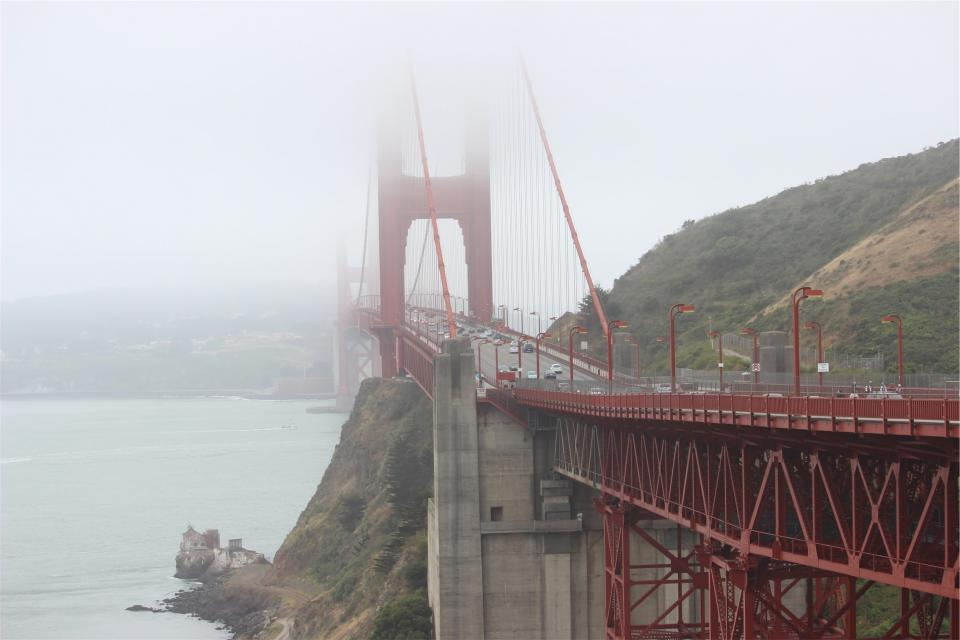 Golden Gate Bridge, San Francisco, architecture, cars, road, fog
