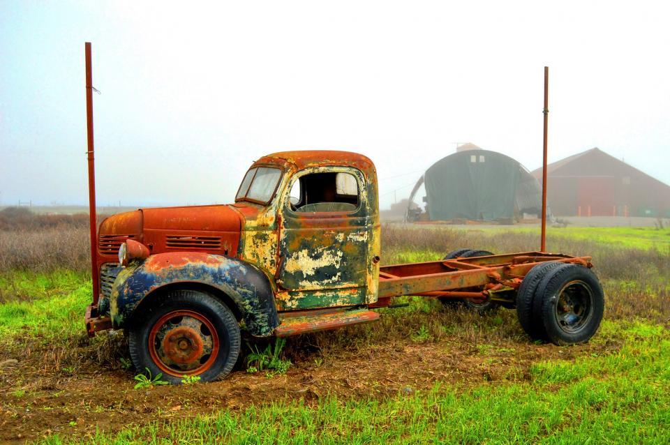 truck, vintage, oldschool, rust, barn, farm, countryside, grass