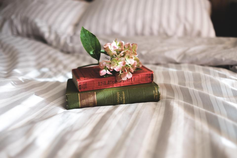 books, reading, bedroom, bed, sheets