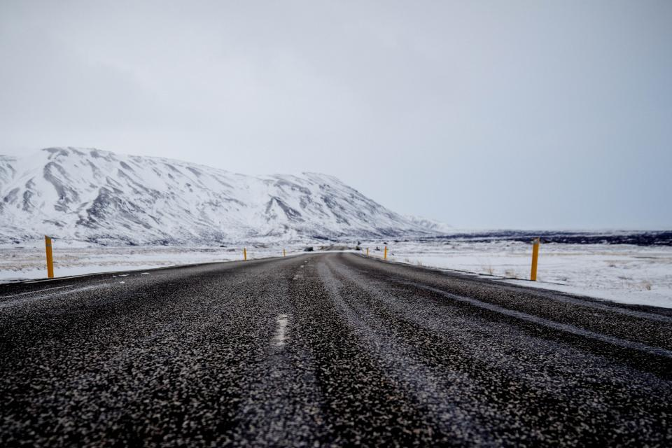 road, pavement, rural, mountains, landscape, nature, winter, snow, cold