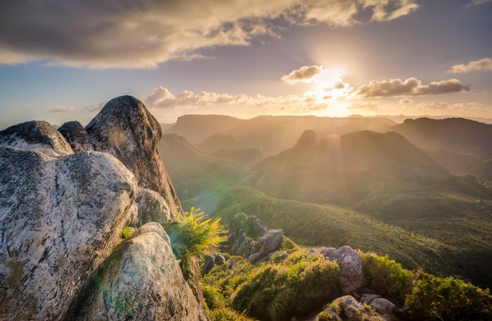 sunlight, sun rays, sky, clouds, mountains, hills, valleys, landscape, nature, cliffs, rocks