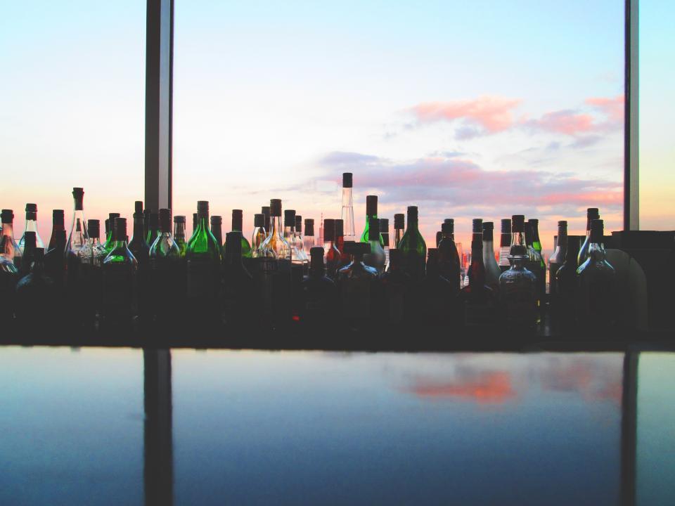 bar, alcohol, booze, bottles, window, sky
