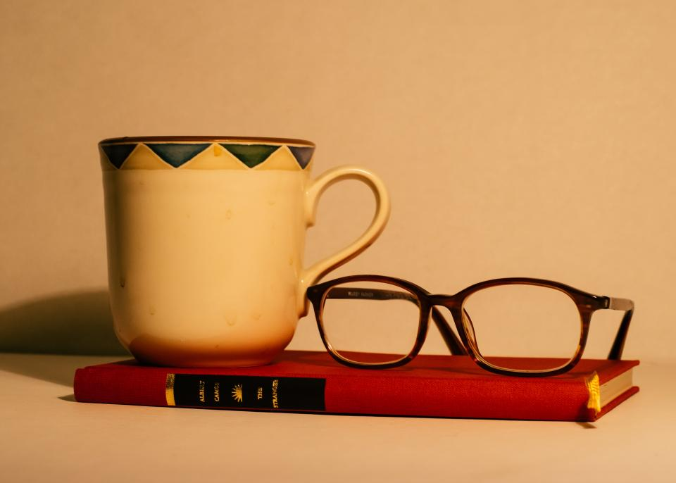 book, eyeglasses, mug, cup, objects
