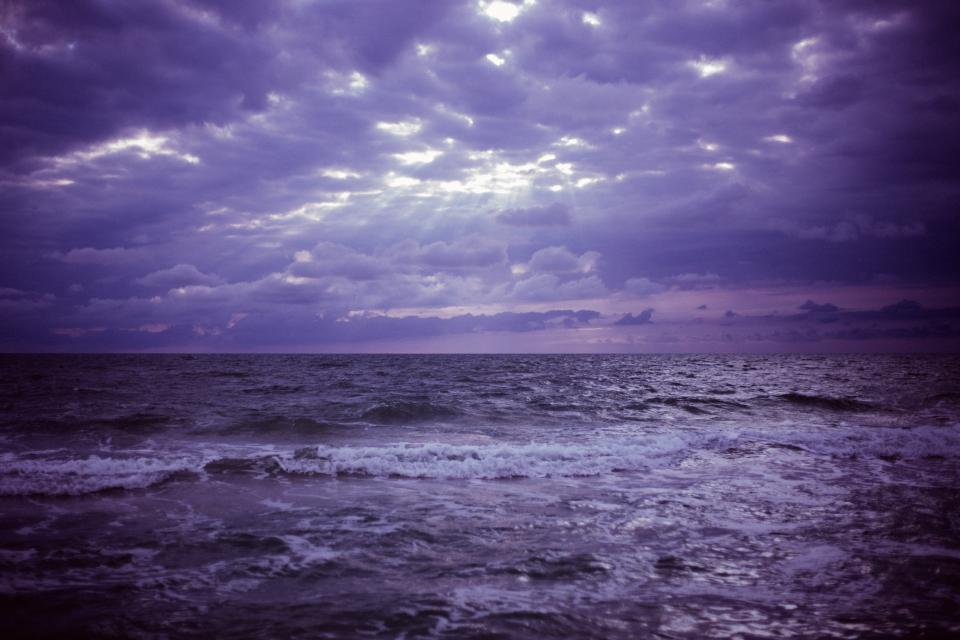purple, sky, clouds, storm, ocean, sea, water, waves, horizon