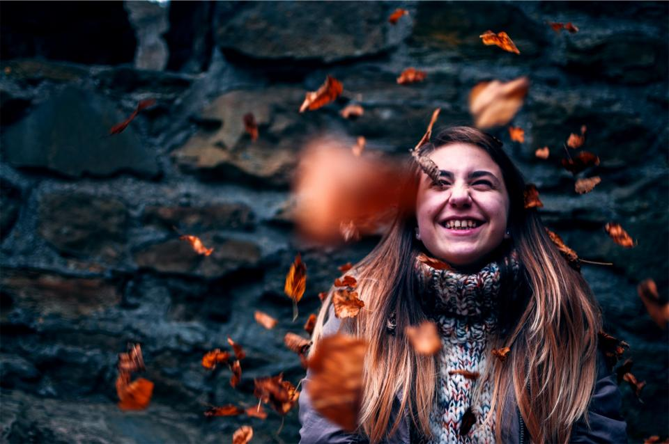 smile, smiling, happy, girl, brunette, long hair, leaves, falling, people