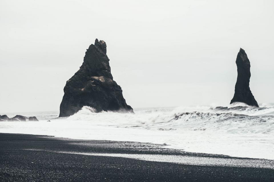 beach, sand, ocean, sea, shore, waves, rocks, sky, nature, landscape, black and white