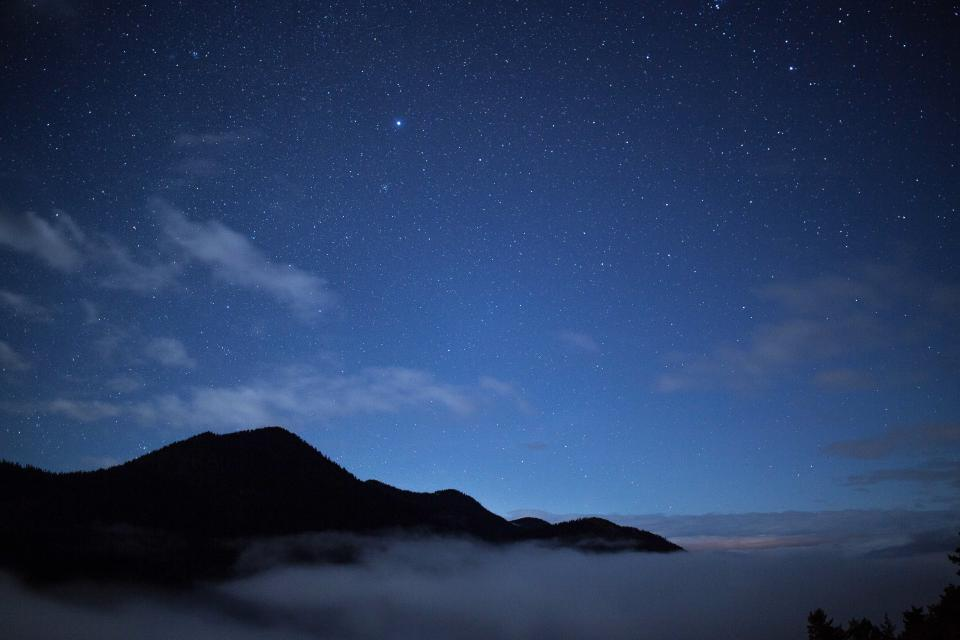 stars, galaxy, space, astronomy, night, dark, evening, sky, mountains, silhouette, shadows, clouds, landscape, nature, outdoors