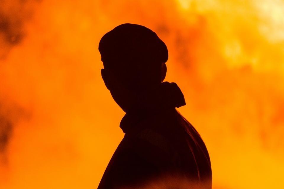 fire, flames, hot, guy, man, shadow, silhouette, people