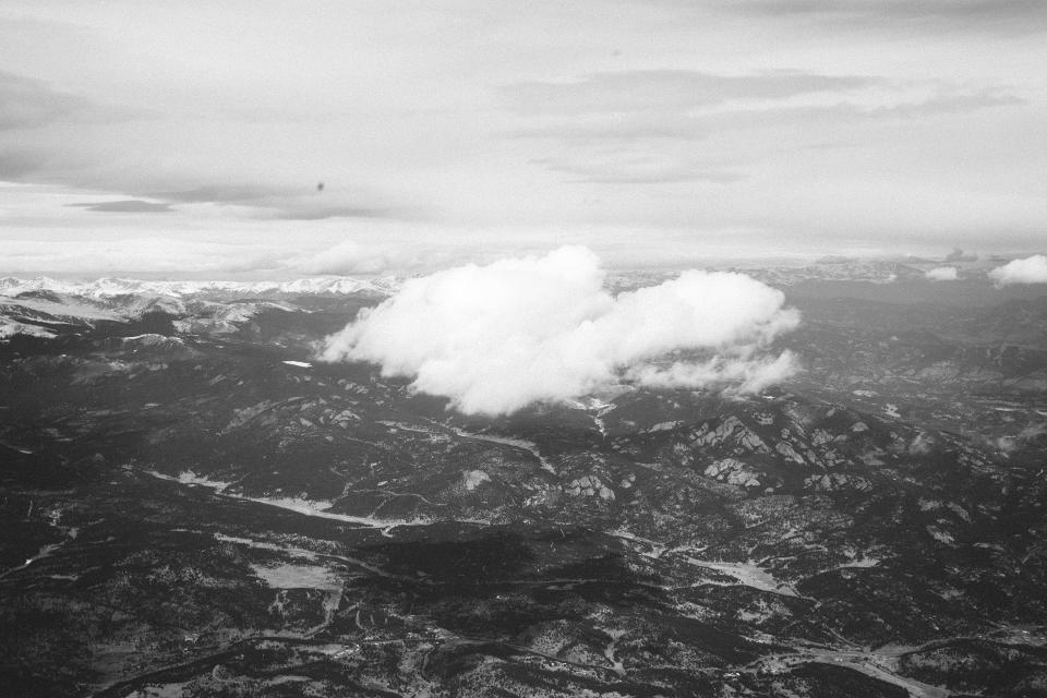 mountains, valleys, hills, sky, cloud, black and white