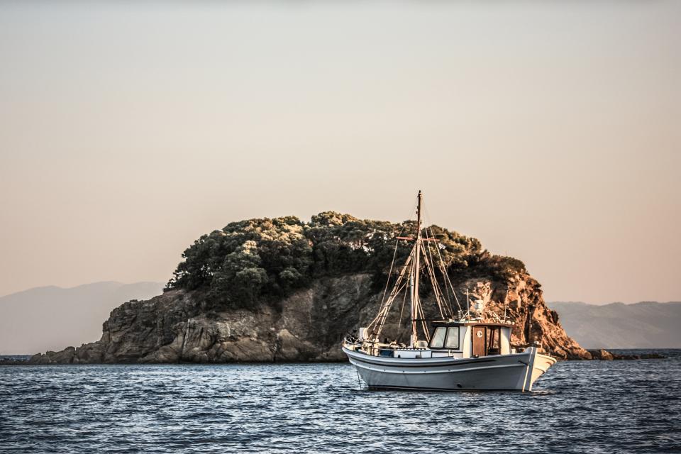 boat, ship, ocean, sea, island, sky, vacation, travel, trip