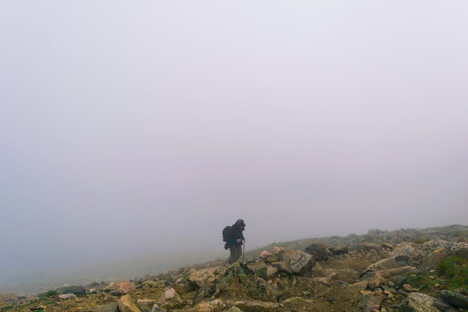hiking, trekking, trail, rocks, outdoors, adventure, fitness, fog, foggy, haze, rocks, people
