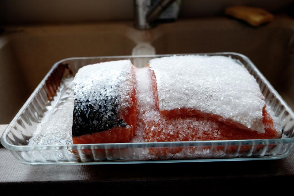 frozen, salmon, fish, ice, food, dish, thaw