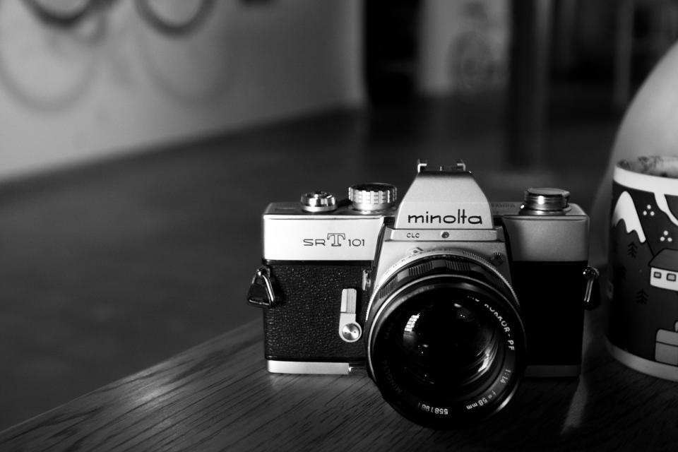 minolta, camera, photography, lens, slr, black and white
