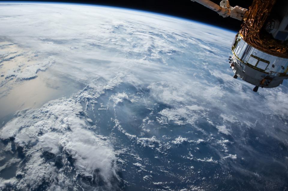 satellite, orbit, earth, space, aerial, view