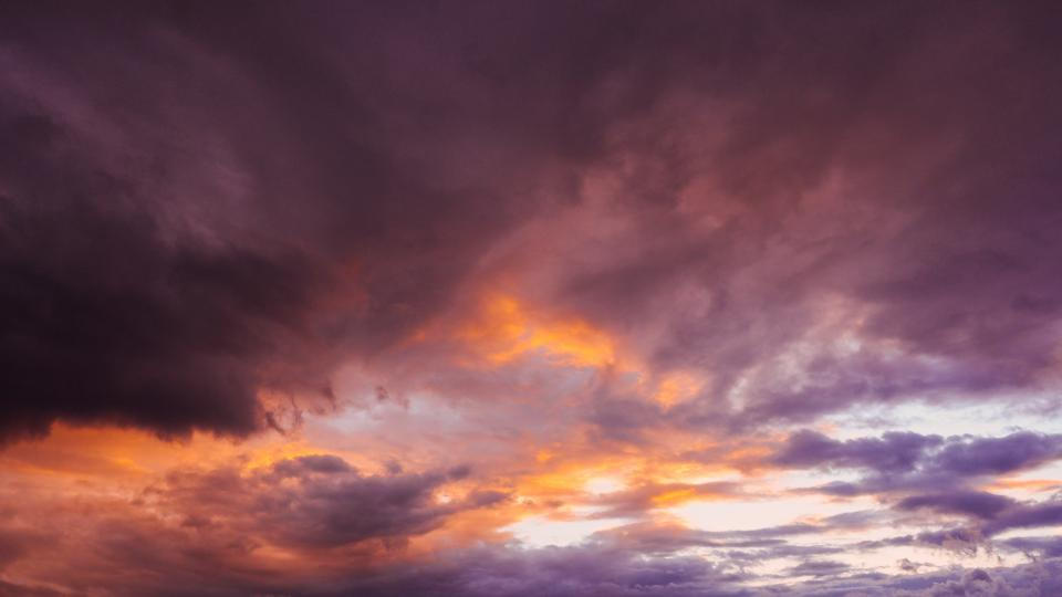 sunset, dusk, sky, clouds, storm, purple