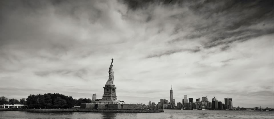 statue of liberty, liberty island, New York, city, NYC, skyline, buildings, architecture, sky, black and white