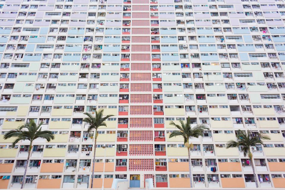 building, architecture, apartment, condo, city, urban, palm trees