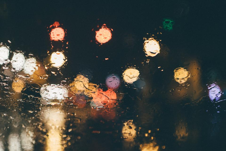 wet, raining, rain drops, lights, bokeh, blurry, night, dark, evening