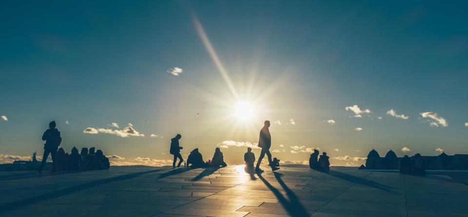 sunset, sun, silhouettes, shadow, oslo, opera, people, landscape, sky